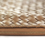 Woven leather document purse *BROWN*