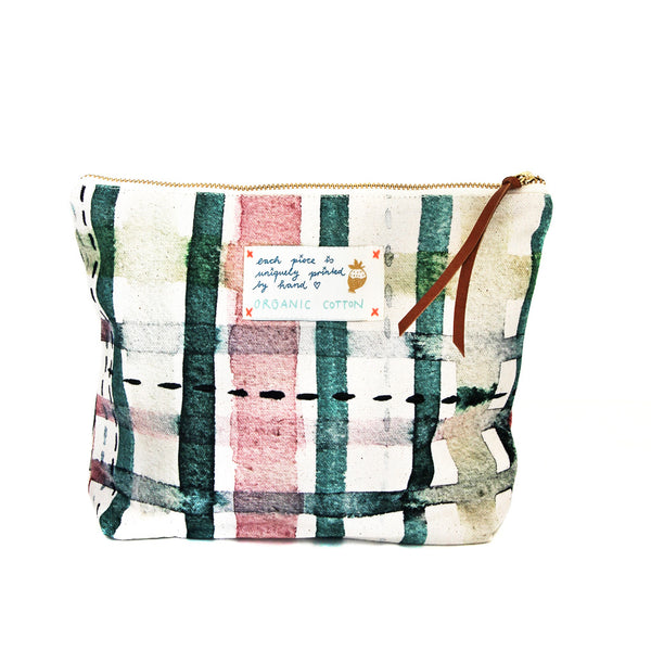*My green check* Organic Cotton Pouch - Lili Pepper