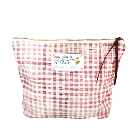 *My Rose Check* Organic Cotton Pouch