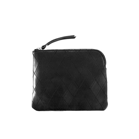 Diamond stitch leather purse *BLACK*