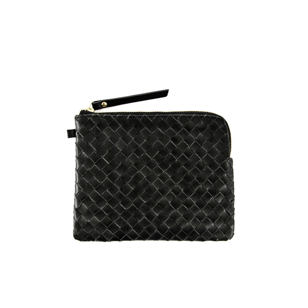 Woven leather purse *BLACK*