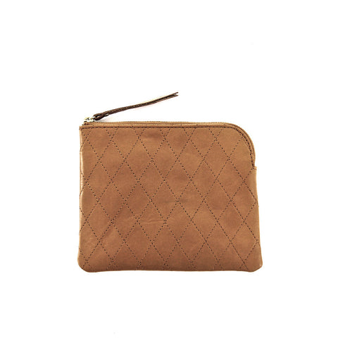 Diamond stitch leather purse *BROWN*
