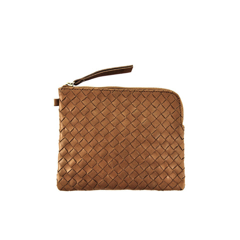 Woven leather purse *BROWN*