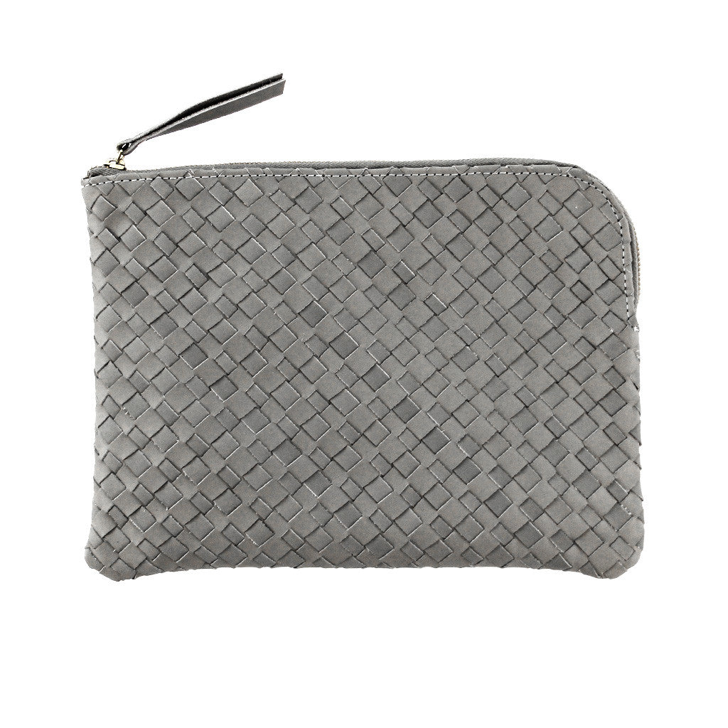Woven leather document purse *GREY*
