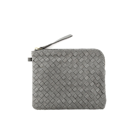 Woven leather purse *GREY*