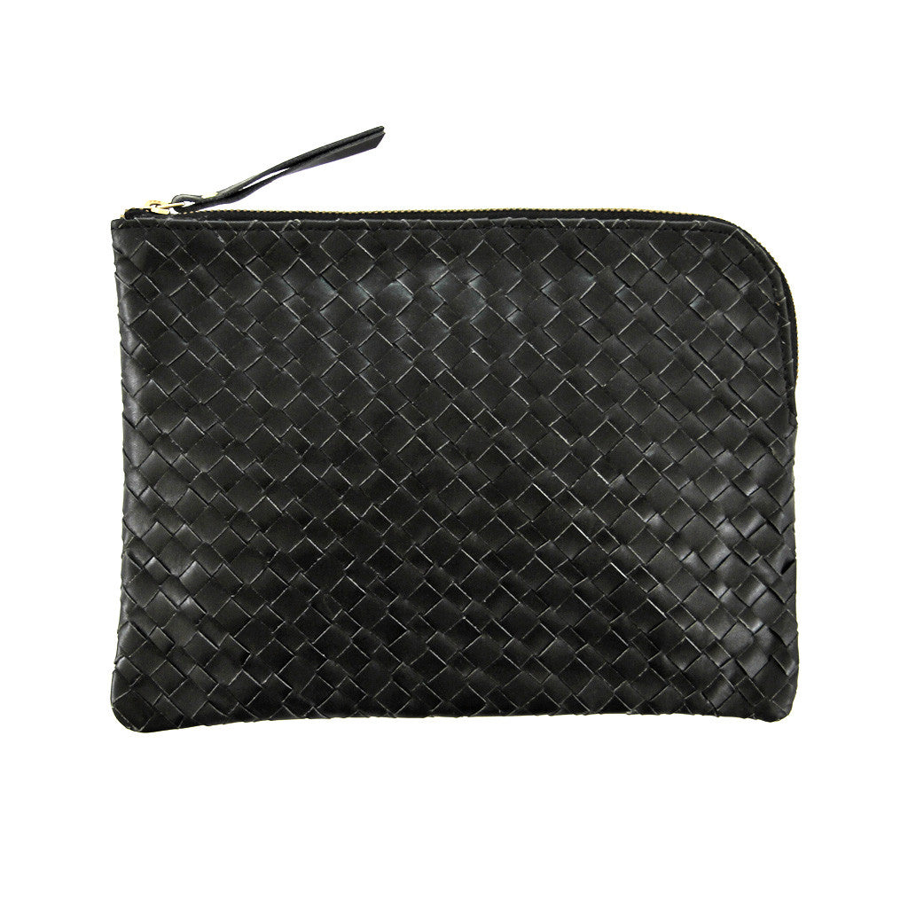 Woven leather document purse *BLACK* - Lili Pepper