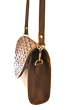 Leather clutch purse with woven flap - Lili Pepper