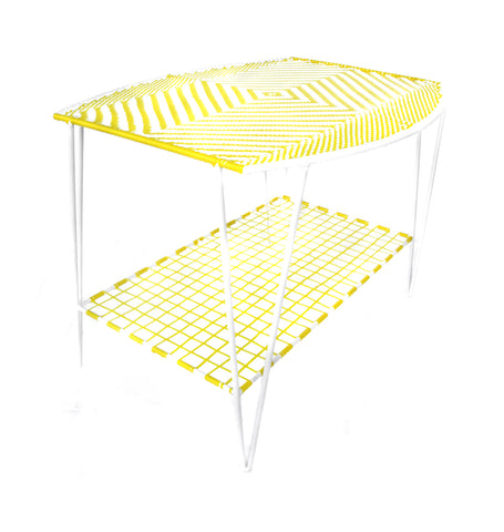 *WOVEN TABLE YELLOW WHITE * Handwoven metal table