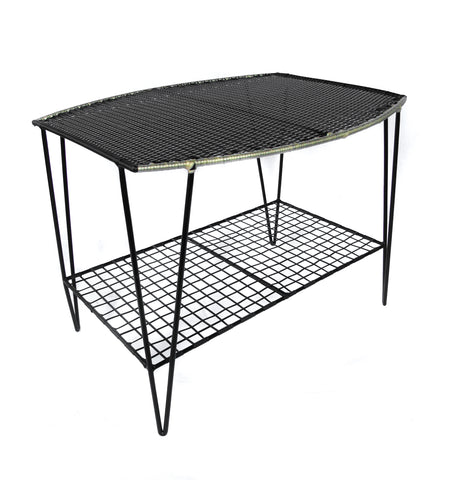 *WOVEN TABLE BLACK GOLD * Handwoven metal table
