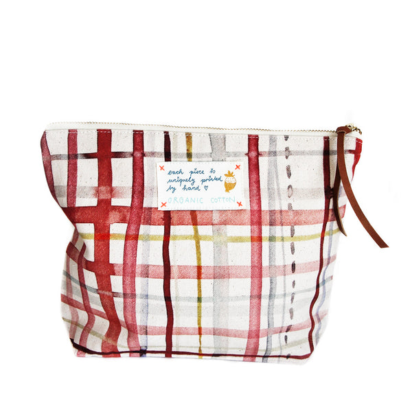 *My Red Check* Organic Cotton Pouch - Lili Pepper