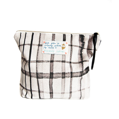 *My Black Check* Organic Cotton Pouch