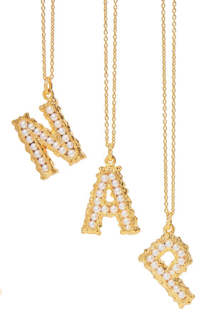 Mini Pearl Alphabet Necklace - 18K Gold Plated