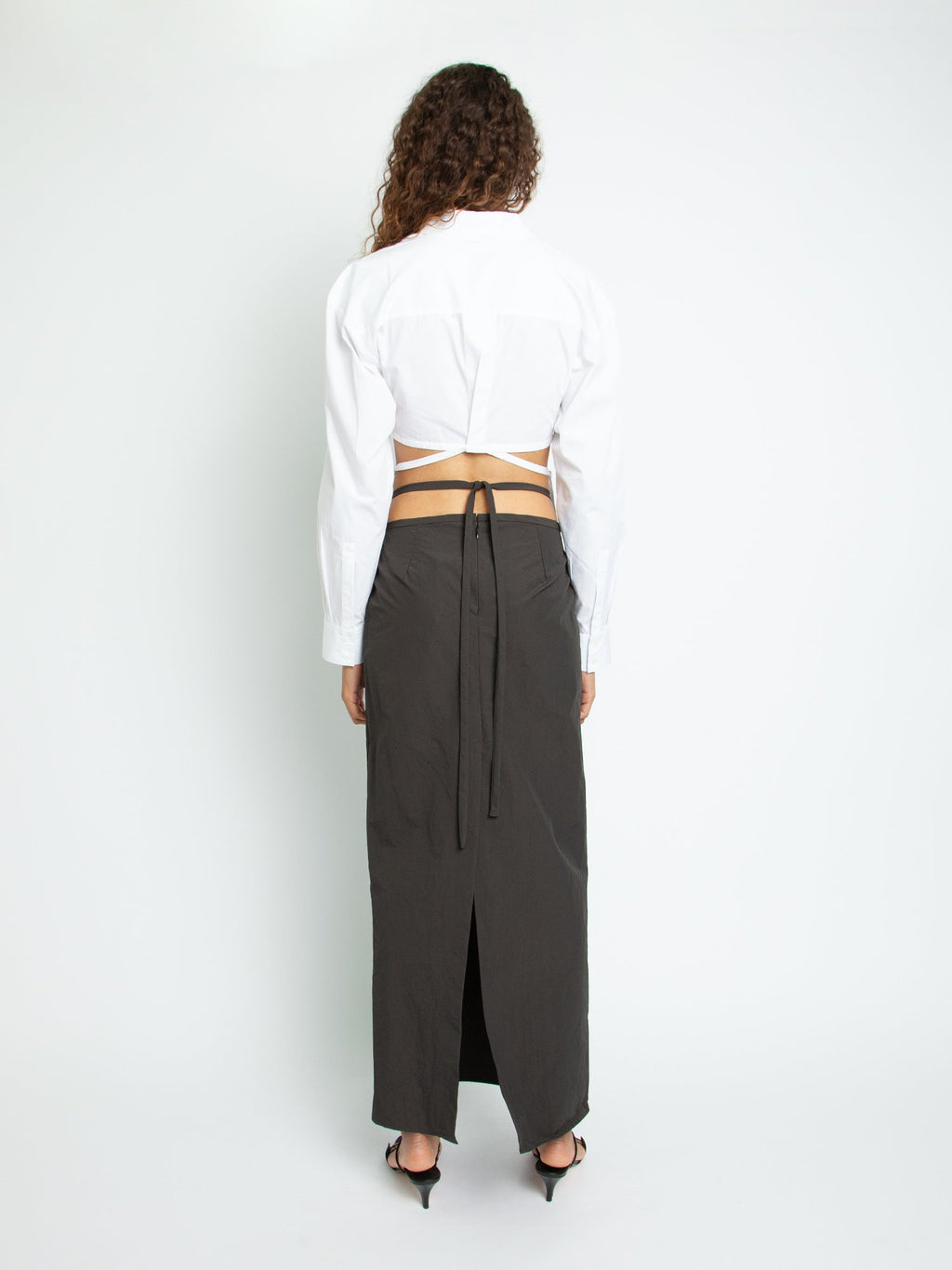 Wrap Cropped Tie Shirt