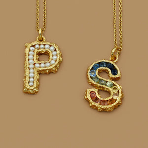 Mini Pearl Alphabet Necklace in Rainbow Sapphires - 18K Gold Plated