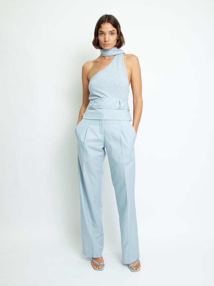 Double Belted Trouser - Dusty Blue