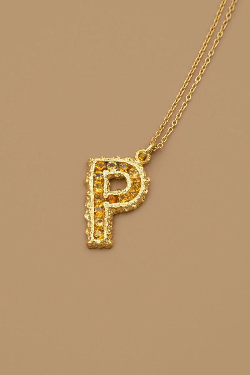 Mini Pearl Alphabet Necklace in Yellow Sapphires - 18K Gold Plated