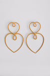 The Double Heart of Gold Earrings