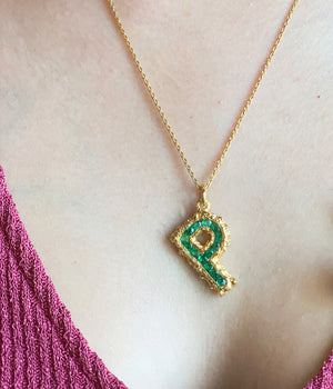 Mini Pearl Alphabet Necklace in Emeralds - 18K Gold Plated