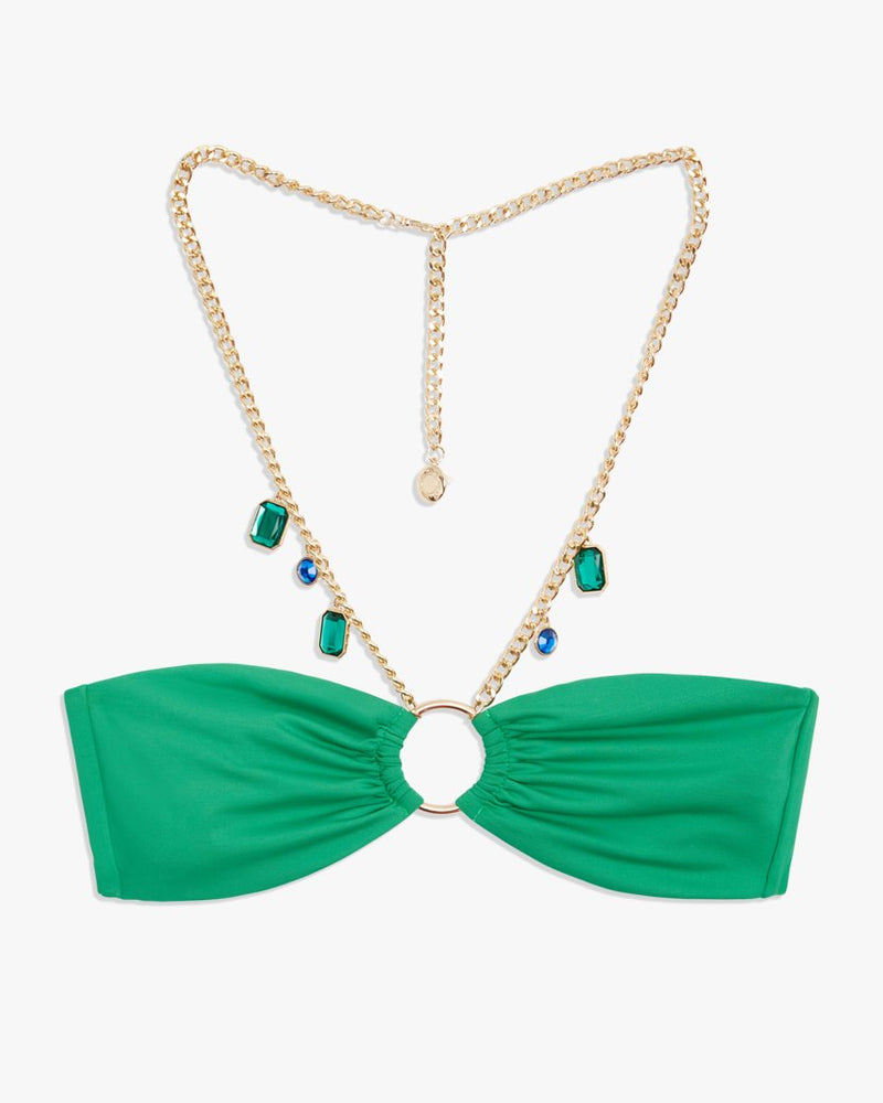 Necklace Bandeau Bikini Top - Emerald