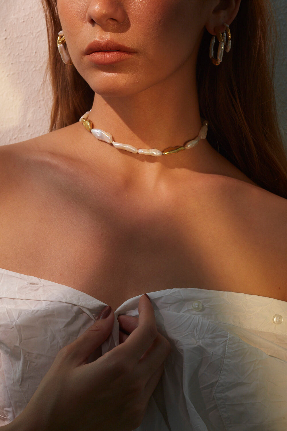 Birch Pearls Necklace - 18k Gold Plated