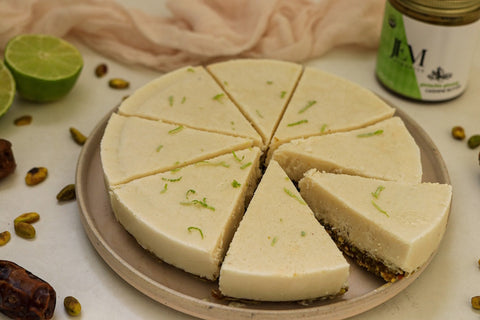 Key lime pistachio pie sliced