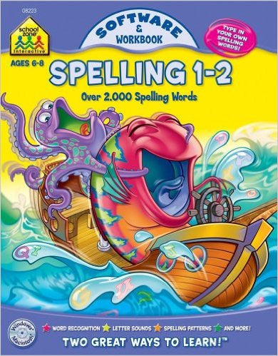 School Zone Software & Workbook Spelling 1-2 Ages 6-8