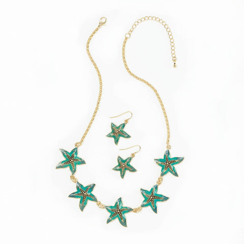 Green Starfish Jewelry Set