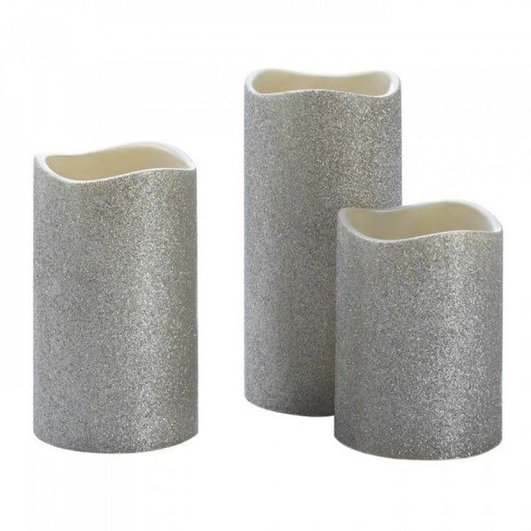 Silver Glitter Led Candle Set Of 3