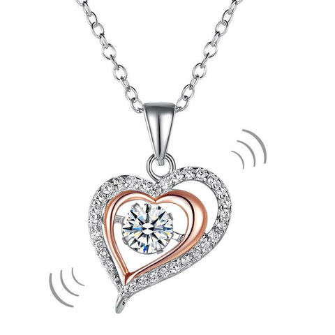Double Heart Dancing Stone Pendant Necklace 925 Sterling Silver XFN8078
