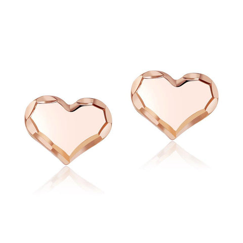 Solid 18K/750 Rose Gold Classic Heart  Stud Earrings