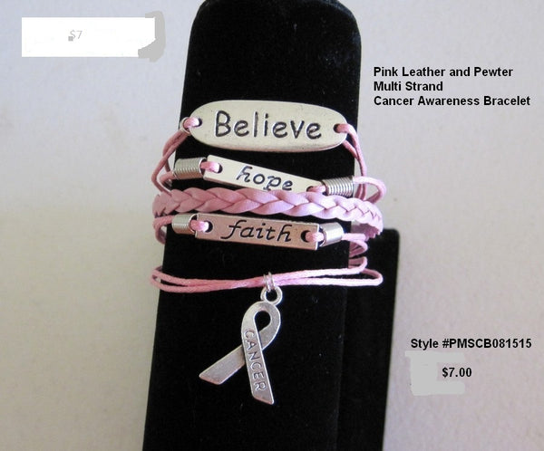 Faith, Hope, Believe Cancer Awareness Bracelet