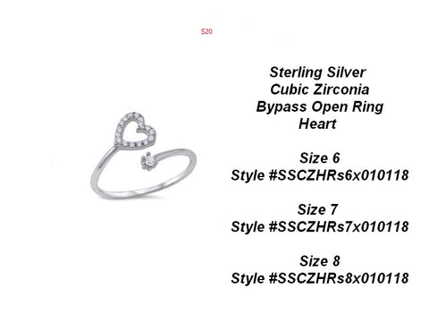 Sterling Silver CZ Heart Bypass Open Ring