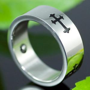 Religion Gothic Cross Magnetic Therapy Stainless Steel Mens Ring MR108