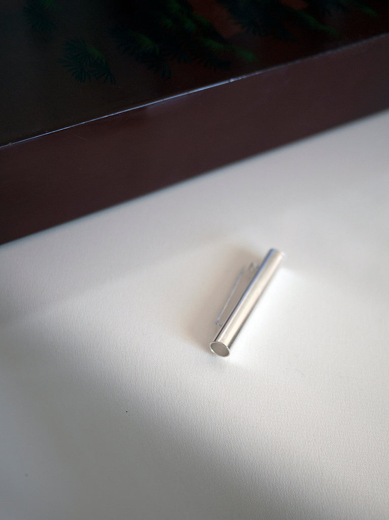 SILVER TUBE BROOCH