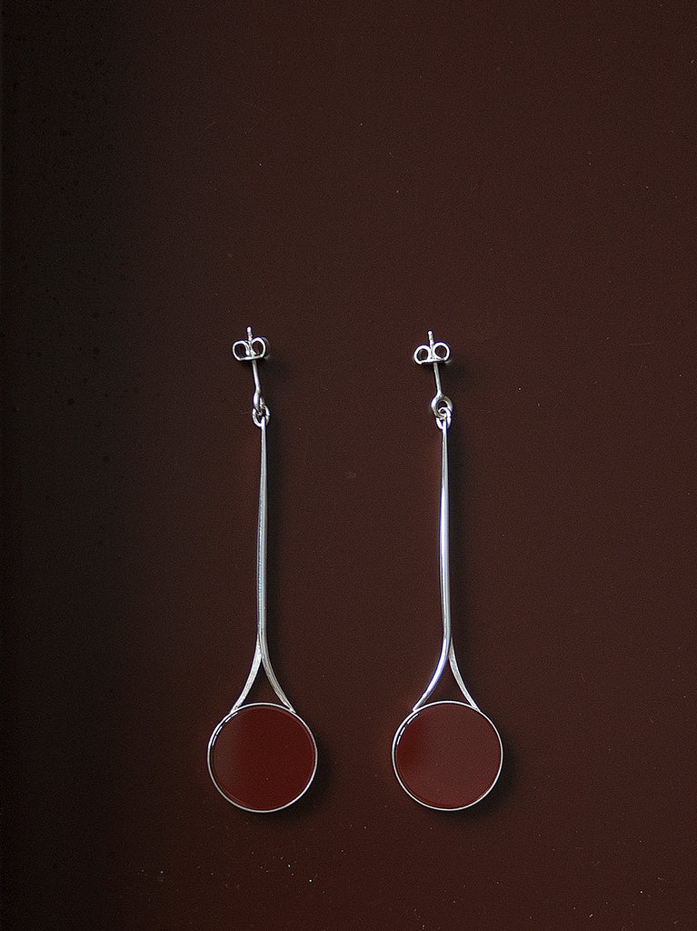 TALL FLAT CARNELIAN EARRINGS