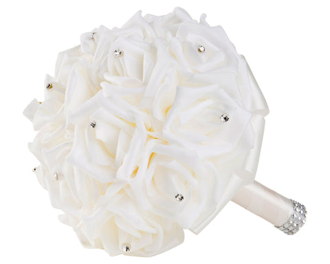 White Foam Rose Wedding Bouquet with White Ribbon
