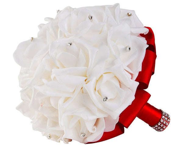 White Foam Rose Wedding Bouquet with Red Satin Ribbon
