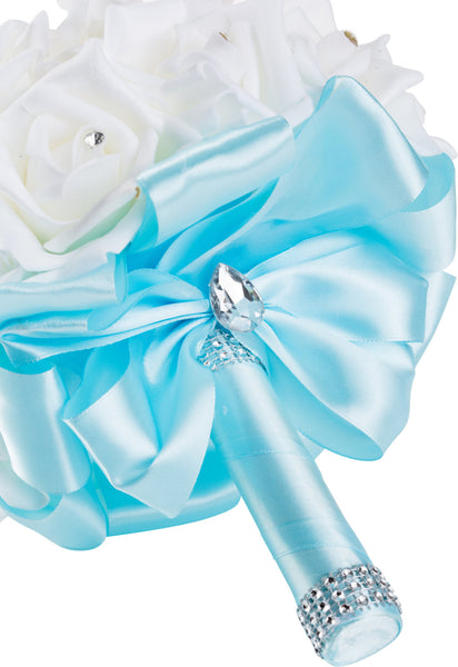 White Foam Rose Wedding Bouquet with Light Blue Ribbon - World of Weddings