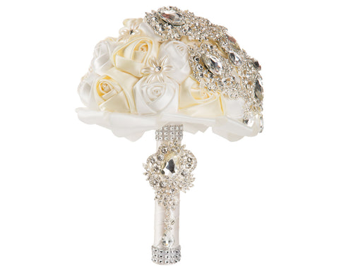 2-Color, White and Ivory Silk Rose Bouquet with Diamante Rhinestone Brooches - World of Weddings