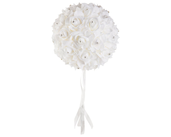 "8"" Diameter White Kissing Ball with Rhinestones - World of Weddings"