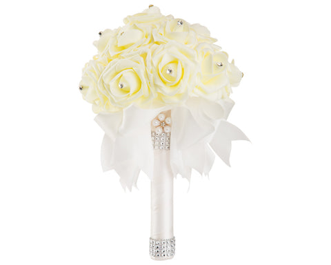 Ivory Foam Rose Wedding Bouquet with White Ribbon - World of Weddings