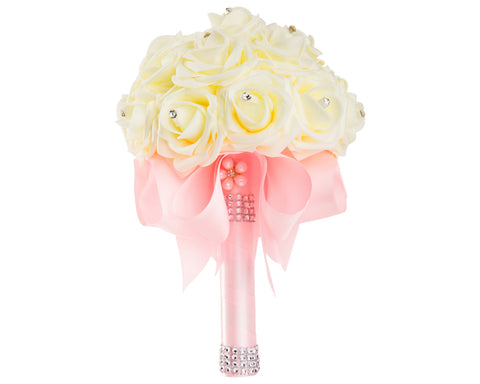 Ivory Foam Rose Wedding Bouquet with Pink Ribbon - World of Weddings
