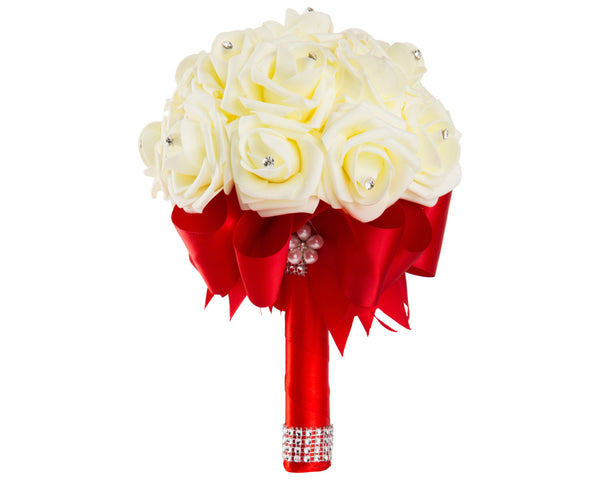 Ivory Foam Rose Wedding Bouquet with Red Satin Ribbon - World of Weddings