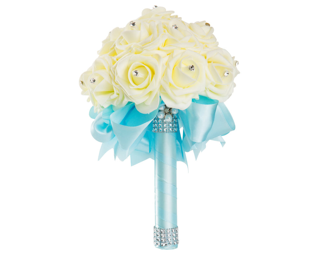 Ivory Foam Rose Wedding Bouquet with Light Blue Ribbon | World of ...