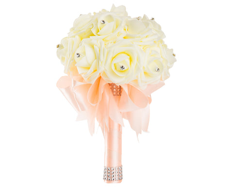 Ivory Foam Rose Wedding Bouquet with Peach Ribbon - World of Weddings
