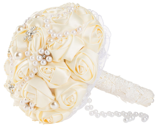 Elegant Ivory Silk Rose Wedding Bouquet - World of Weddings
