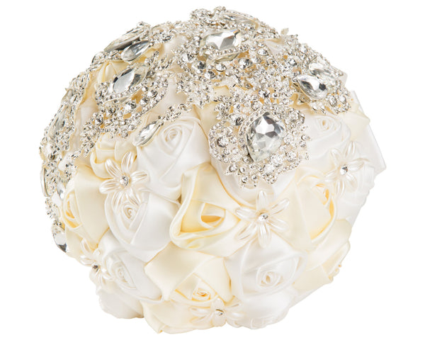 2-Color, White and Ivory Silk Rose Bouquet with Diamante Rhinestone Brooches
