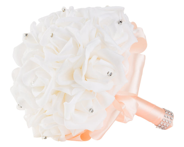 White Foam Rose Wedding Bouquet with Peach Ribbon - World of Weddings