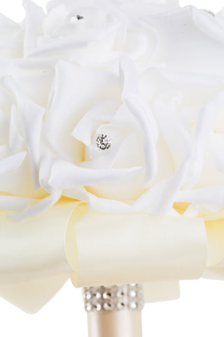 White Foam Rose Wedding Bouquet with Ivory Ribbon - World of Weddings