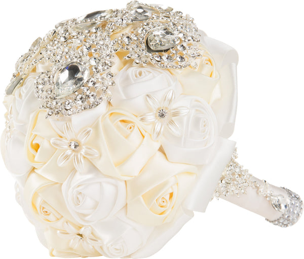White and Ivory Silk Rose Bouquet - World of Weddings